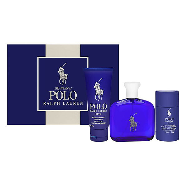 Ralph Lauren Polo Blue 4.2 3PC Men Set Perfume